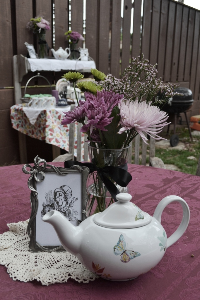 Mad Hatter tea flowers and teapot