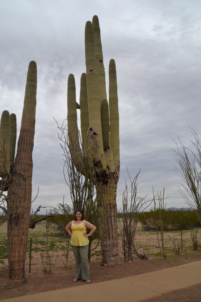 Casa Grande, Arizona, Jo with Cactus