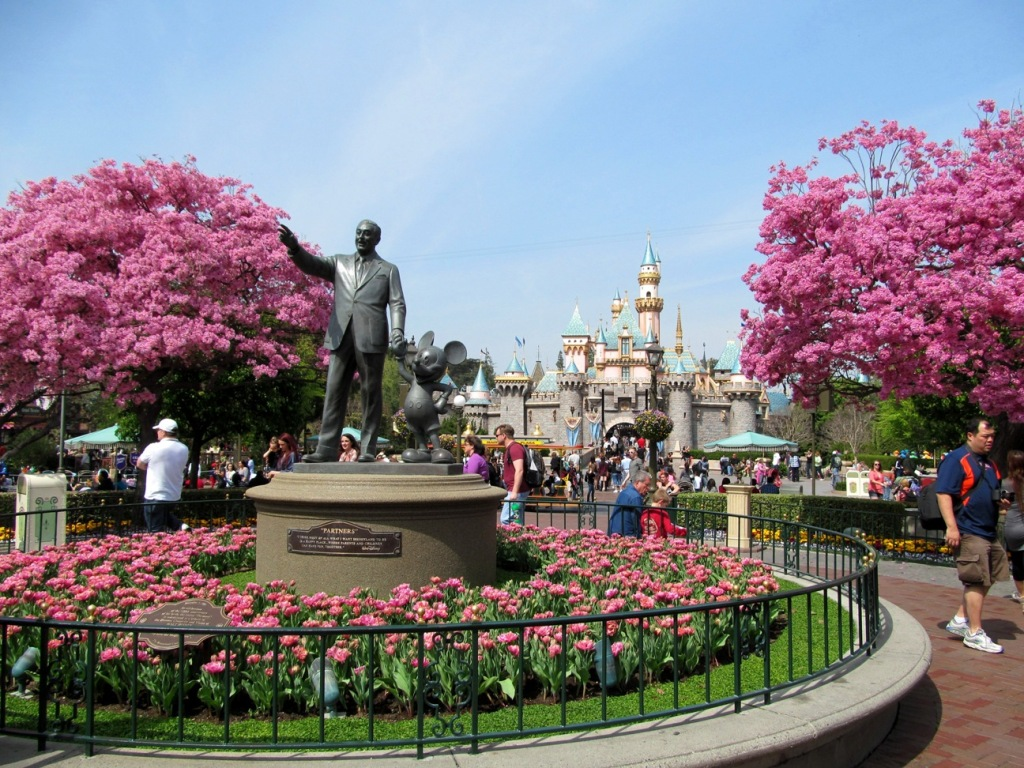 Disneyland castle in spring