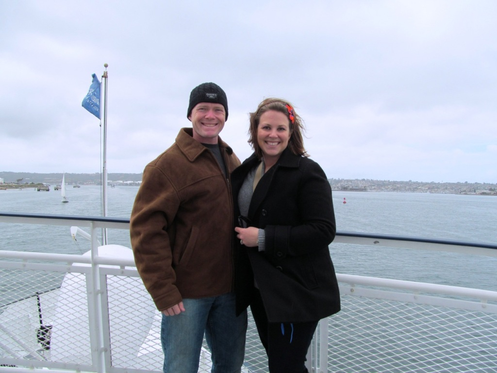 Whale watching, J and J on ship