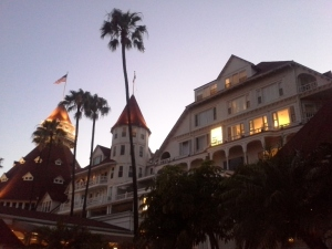 Hotel del Coronado, sunset view of hotel
