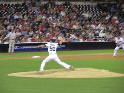 Padres game, pitcher