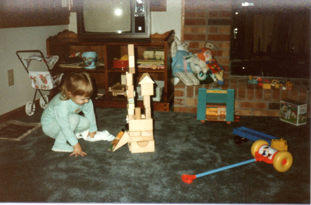 baby photos, living room