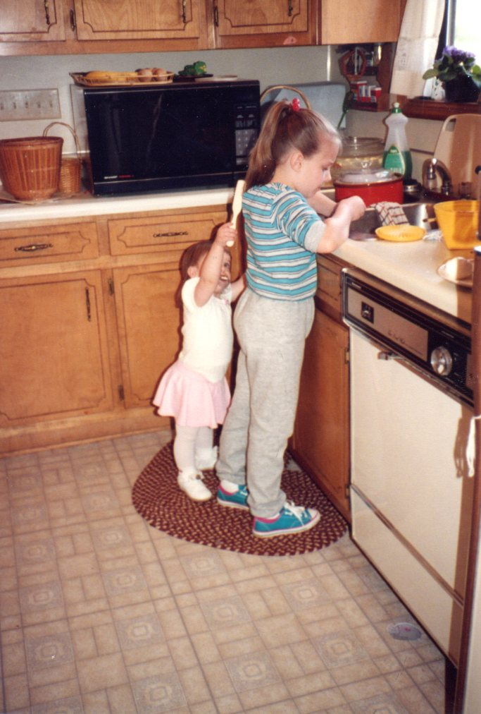 J and E in the kitchen, throwback