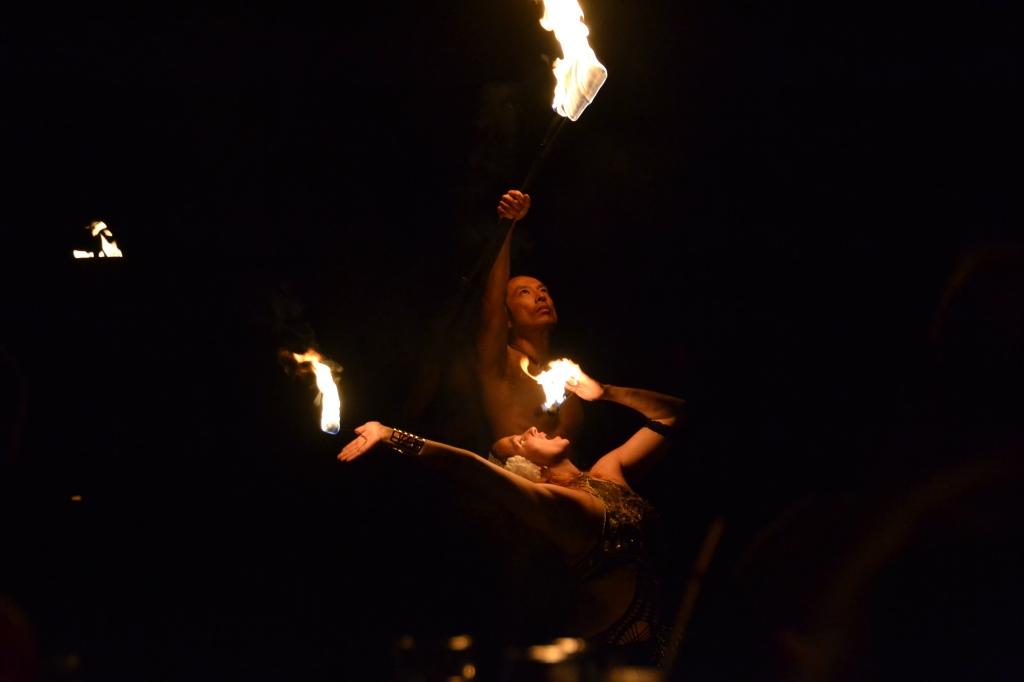 Australia, Port Douglas, rainforest fire dancers